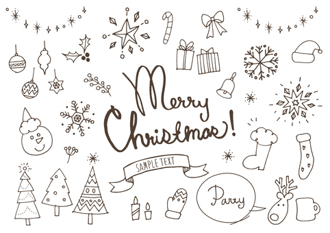 Christmas cute handwritten white