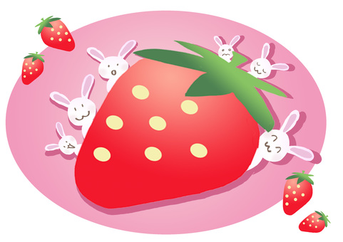 Strawberries and a lot of rabbits