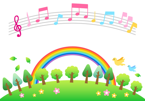 Musical notes natural background