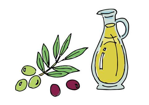 Illustration of olive oil and fruits