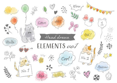 Handwritten watercolor design material vol1