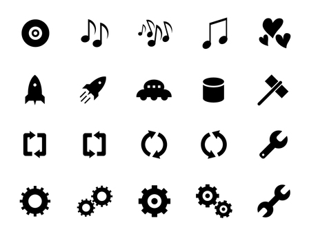 Music, heart, rocket and tool icons