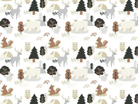 森の動物パターン 冬 白