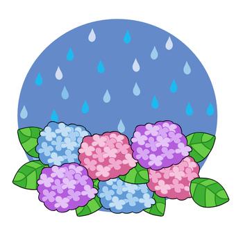 あじさいと雨のカットイラスト