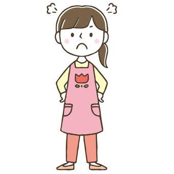 Cute female nursery teacher get angry / hand drawn / whole body
