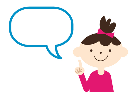 Girl holding index finger with speech bubble