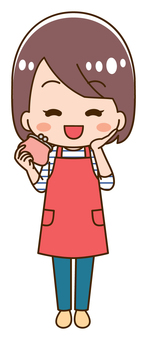 Illustration of a housewife with a wallet with a smile