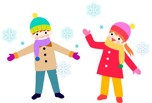 Snow in winter with children