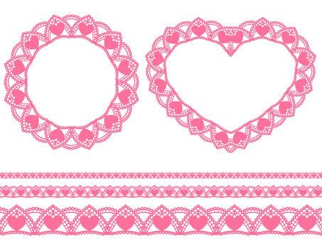 Heart pattern lace set · Pink