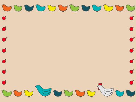 Scandinavian little bird colorful frame