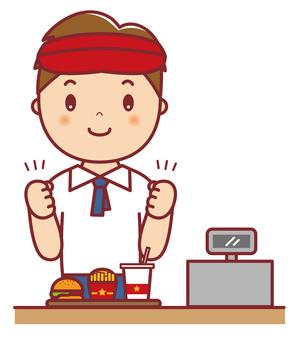 Hamburger shop male clerk Guts
