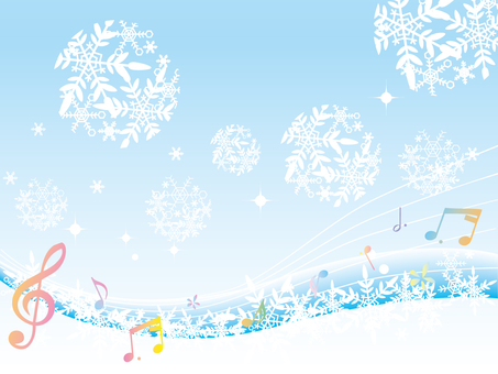 Snow crystal _ winter background _ new five notes