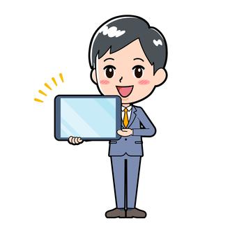 정장 젊은이 태블릿 발표