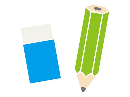 연필과 지우개 컬러 아이콘