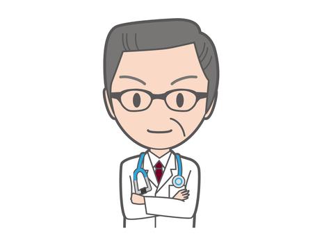 醫生和胳膊縫合器的資深上身用聽診器