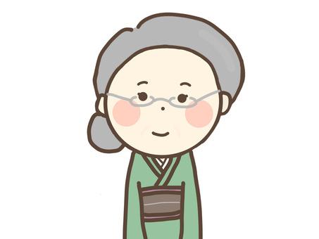 Senior woman wearing a kimono