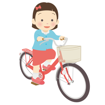 Girl riding a bicycle
