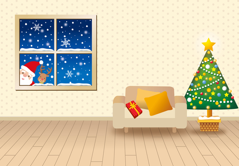 Christmas and interior with window