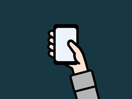 Hand using smartphone gray