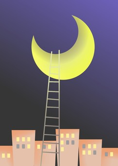 Moon, houses and ladder