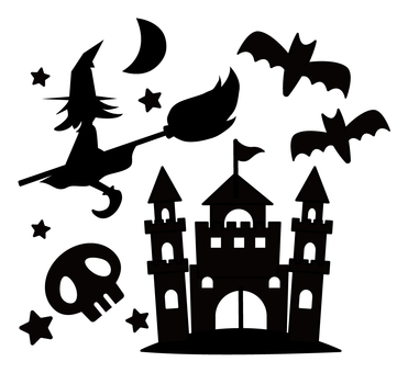 Illustration of Halloween Witch, Castle, Bat