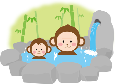 Landscape hot spring (monkey)