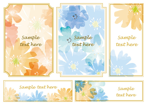 Watercolor flower frame set