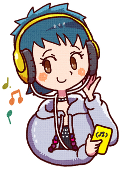 A woman listening to music with headphones