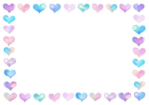 Watercolor heart frame-B3