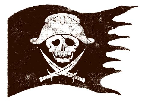 ドクロ 海賊 旗 フラッグ ガイコツ