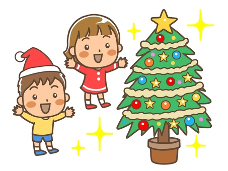 Christmas tree and children