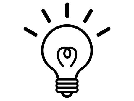 電球 電気 ひらめき モノクロ