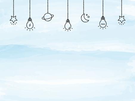 背景水彩觸摸燈泡裝飾藍色