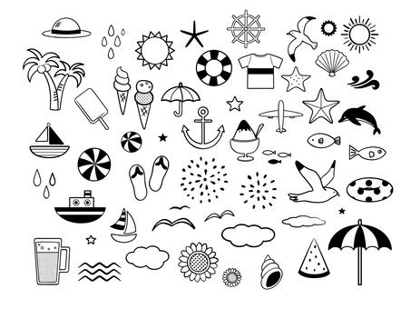 夏季材料的插图