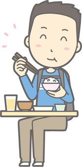 Male tourism youth a - delicious Japanese food - whole body