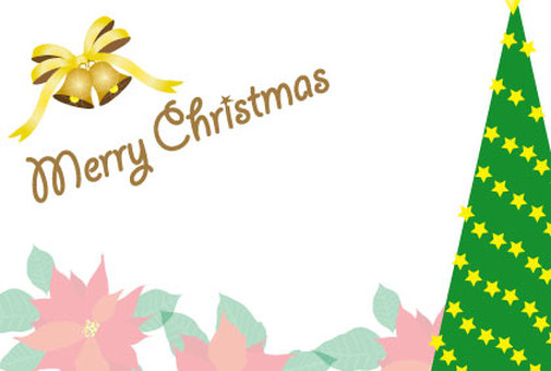 크리스마스 카드의 포인세티아와 벨