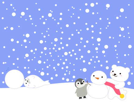 Winter animals _ snow playing