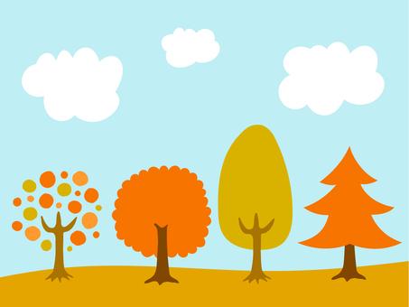 Illustration of autumn leaves trees