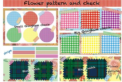 Check and flower pattern textile
