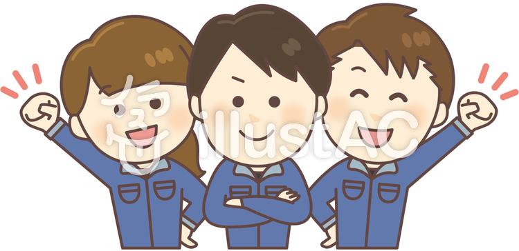 作業服男女3人(上半身・ブルー)のイラスト