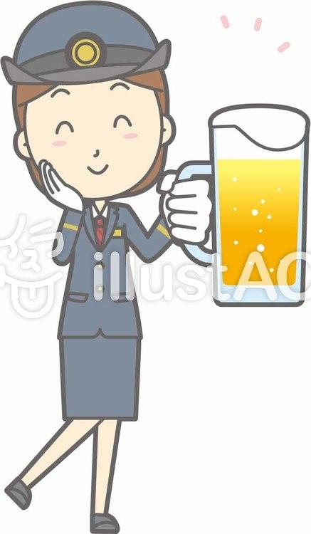 駅員女性a-ビール笑顔-全身のイラスト
