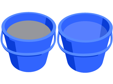 Beautiful water bucket and dirty water bucket