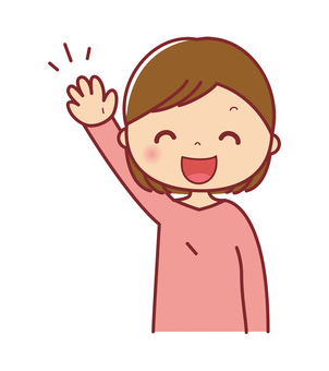 A smiling woman upper body illustration raising her hand