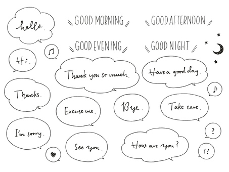 English letters and speech balloons