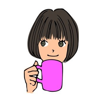 A girl with a mug