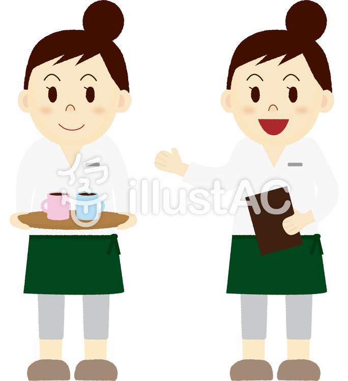 カフェで働く女性イラスト No 1176550無料イラストならイラストac