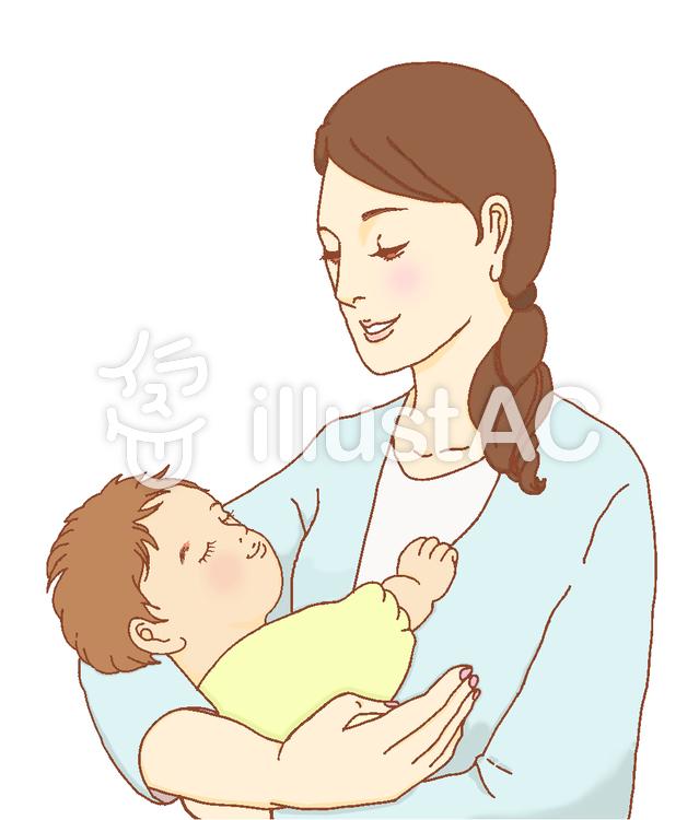 赤ちゃんとママ ブルー服イラスト No 1094688無料イラストなら