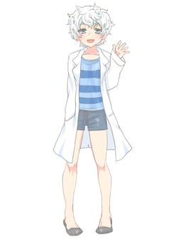 White coat standing picture full body figure