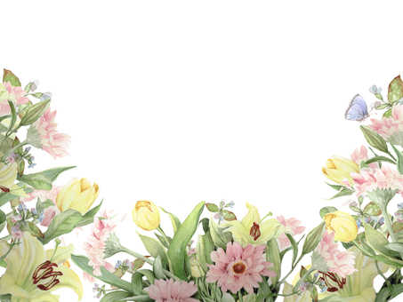 Flower frame 94 - Gerbera and yellow tulip