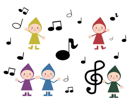 Musical note and dwarf